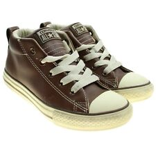 Converse All Star Kids Youth Shoes Brown Leather Hi Tops Size 1