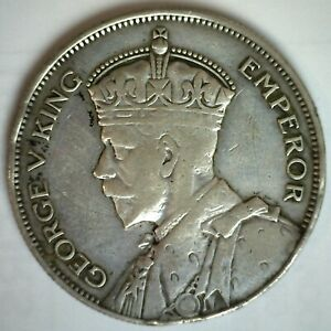 1934 New Zealand Silver 1/2 Crown Coin Circulated YG Some Rim Damage George V