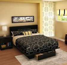 3-Piece Black Full Queen Storage Bed Home Bedroom Furniture Set Dresser