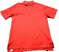 Peter Millar Mens Red Short Sleeve Golf Polo Shirt Size Large