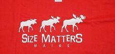 "RED ""SIZE MATTERS""  MAINE TEE~BIKER SHIRT~SIZE XL~COTTON~NWOT"