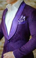 British Style Men's Purple Jacquard Paisley Blazer Tuxedos Groom Wedding Suits