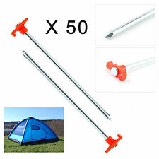50 PCS QUALITY DURABLE STEEL METAL PEGS HOOKS GROUND STAKES TENT CAMPING UK