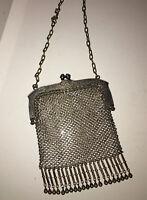 Antique edwardian victorian art nouveau German silver mesh purse
