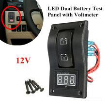 12V Dual Battery Test Panel Rocker Switch +LED Voltage For Car Truck Marine Boat