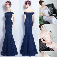 NEW Evening Formal Party Ball Gown Prom Bridesmaid Fishtail Lace Long Dress