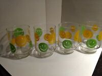 Smiley Happy Face Yellow Green Drink Glass 1970's Libby.  Selling individually.