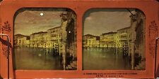 Venise Palais Rezzonico Giustiniani Foscari ITALIE Diorama Stereo Albumine c1870