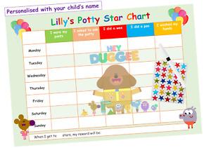 Potty Toilet Training Reward Chart Personalised Boys Girls Sticker Reusable Dug