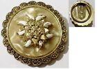 serre passe foulard bijou vintage couleur or effet nacre fleur relief * 4852