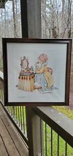 ~ Rare~Mary Engelbreit Little Girl at Vanity w/ Cat Numbered Print Framed~
