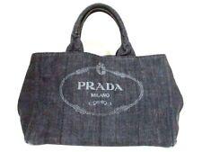Auth PRADA Canapa B2642B Black Denim Tote Bag w/Guarantee