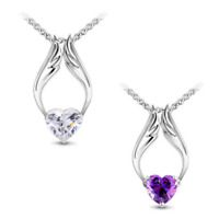 Guardian Angel Wings Necklace Heart with White or Purple Swarovski Crystals New