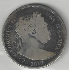 GREAT BRITAIN,  1817,  1/2 CROWN,  SILVER,  KM#672