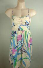 WISH blue pink cream 100% SILK dress12 maxi floral print Weddings Party Races