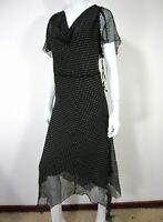 Nine West Woman Short Sleeve Cowl Neck Polka Dots Dress Plus Size 22W Silk Black