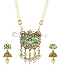 Indian Bollywood Antique Gold Mint Color Long Necklace Crystal Faux Kundan Set
