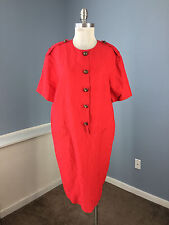 Evan Picone Red XL 14 Shirt Dress Shift Cap Sleeve Career Excellent