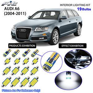 19 Bulbs LED Interior Light Kit Cool White For C6 2004-2011 AUDI A6 S6 RS6 Avant