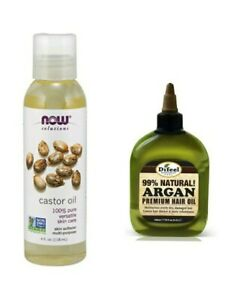 Now Solution Castor Oil Multi Purpose Skin Softer 4.oz Combo,100%Argan Oil 2.oz