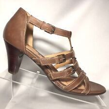 Sofft Sandal Heels Saddle Brown Leather Strappy Heels 3 Buckle Womens Size 6 M
