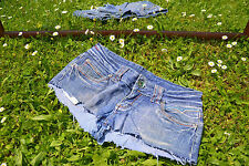 MISS VIVI Vtg 90s Denim Hot Pants Jeans Shorts Custom Re-worked Cut Off sz L Q52