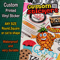Custom printed vinyl Stickers Decals Labels and cut to shape