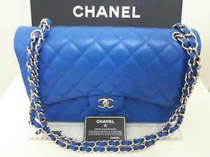 Marvelous CHANEL Quilted Lambskin Leather Classic Jumbo Double Flap Bag - Blue