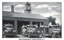 Postcard-Fire Department,, Camp Kilmer NJ, Fireman standing on their fire trucks