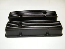 SBC Black Finned Aluminum Valve Covers 283 327 350 383 400 Chevy Small Block