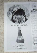 1968 vintage print ad - Ambush cologne Dana Pretty GIRL face ADVERT Clipping