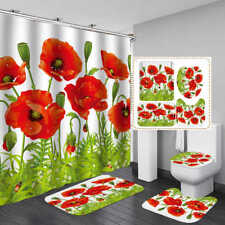 Red Flower Green Leaf Shower Curtain BathMat Toilet Cover Rug Bathroom Decor