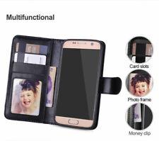 For Samsung S7,8, 9,10 + Leather Flip Card Wallet case Detachable Magnet Cover