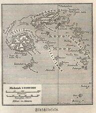 B0838 Fiji - Carta geografica d'epoca - 1890 Vintage map