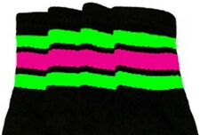 "22"" KNEE HIGH BLACK tube socks w/ Neon Green/Hot Pink stripes style 1 (22-162)"