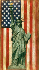 Beautiful Oil painting America National flag Statue of Liberty on canvas