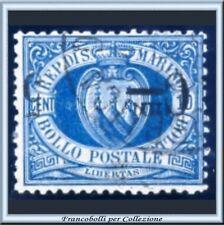 1892 San Marino 5 c. su 10 cent. azzurro Soprastampa capovolta n. 8a Varietà