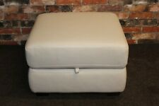 WORLD OF LEATHER STORAGE FOOTSTOOL IN IVORY LEATHER (519)