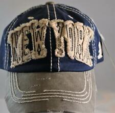 KB Ethos New York Hat,Cap,NWT,Blue+White, Distressed,Buckle Closure