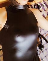 LEOHEX 2020 Sexy Zipper Swimwear One Piece Wetlook Shiny Bodysuit Black Bademode