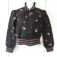 New Nolita by Angie Quilted Bomber Jacket M Medium Black Floral Boho Cropped