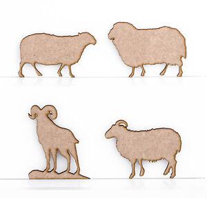 Sheep Ram Ewe Lamb Highland Sheep Craft Shapes Embellishments 3mm MDF Wood