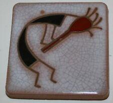 "Sante Fe Hand Pianted Art Tile Curved Kokopeli Gray Red Black 3.5"" x 3.5"" Coaste"