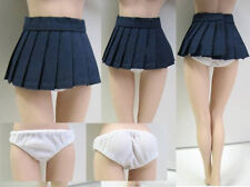 """Students Short Pleated Skirt + White Underwear Pants 1/6 Scale Fit F 12"""" Figures"""