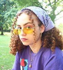Yellow 90s Style frameless Sunglasses