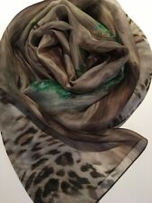 "100% Mulberry Silk Scarf - Leopard & Peacock Feathers 61x168cm 24x66"" Chiffon"