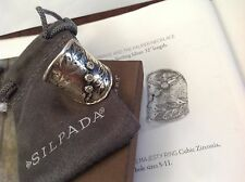 Silpada NIB Nature's Majesty Cubic Zirconia Leaf Sterling Silver Sz 8 Ring R3136