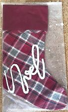 NWT Pottery Barn NOEL plaid nostalgic RED Christmas stocking applique