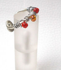 Blickfang Orange Roter Glas Perlen-Ring Nickelfrei Fee Unikat Floral Spiral R28