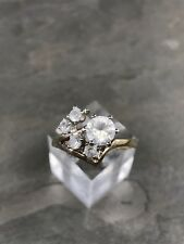 Sz 9, Gold Over Sterling Ring, 925 Silver Engagement Ring W/ Crystal
